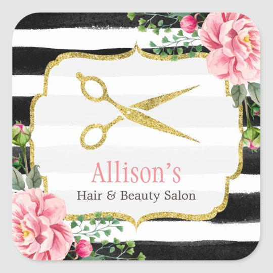 Hair Stylist Gold Scissors Pink Floral Striped Square