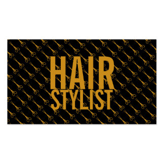 Hair Stylist - Gold scissors with black background Pack Of Standard Business Cards