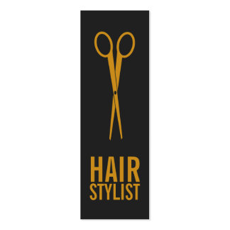 Hair Stylist - Gold Scissors with grey background Pack Of Skinny Business Cards
