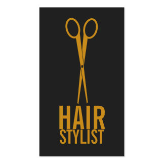 Hair Stylist - Gold Scissors with grey background Pack Of Standard Business Cards