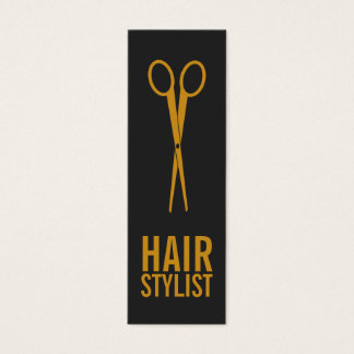 Hair Stylist - Gold Scissors with grey background Mini Business Card