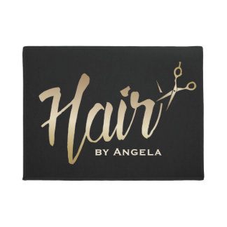 Hair Stylist Gold Script Modern Beauty Salon Doormat