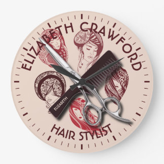 Hair Stylist Hairdresser Or Beauty Salon With Name Clock