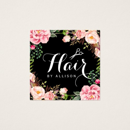 Hair Stylist Hairdresser Scissors Floral Wrapping Square Business