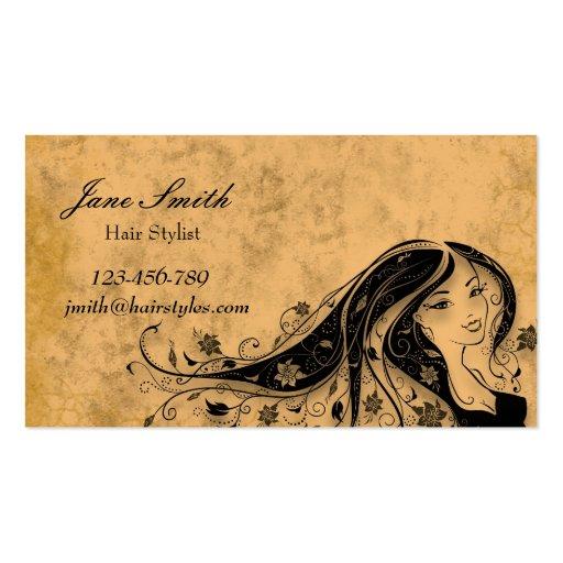Hair stylist hairdresser vintage stylish business cards