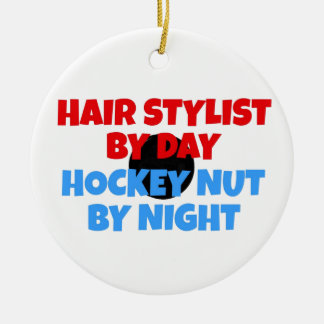 Hair Stylist Hockey Player Christmas Ornament