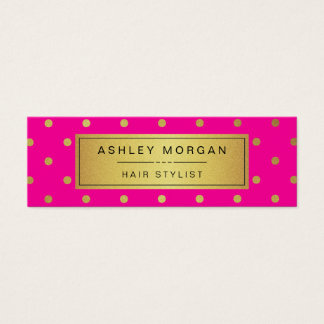Hair Stylist Mini Card - Pink White Gold Dots