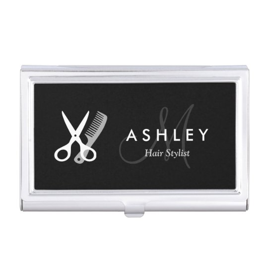 Hair Stylist Modern Black White Scissors Monogram Business