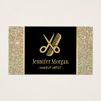 Hair Stylist Modern Gold Glitter Scissors Comb