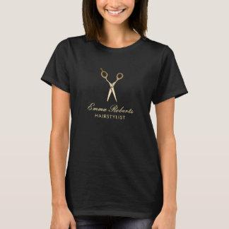 Hair Stylist Modern Gold Scissor Hair Salon T-Shirt