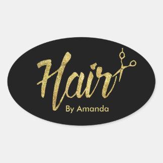 Hair Stylist Modern Gold Script & Scissor Oval Sticker