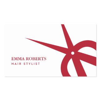 Hair Stylist Modern Red & White Scissor Logo Pack Of Standard Business Cards