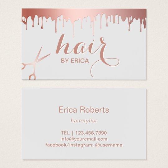 Hair Stylist Modern Rose Gold Scissor Beauty Salon