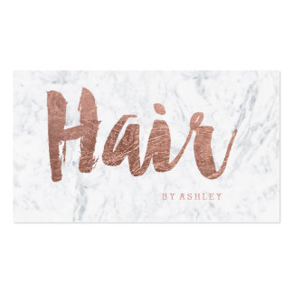 Hair stylist modern rose gold typography marble pack of standard business cards
