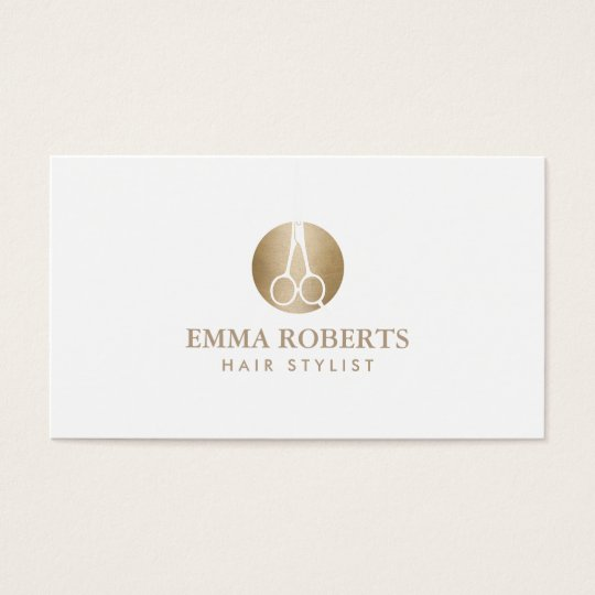 Hair Stylist Modern Scissor Gold Logo Elegant Business Card