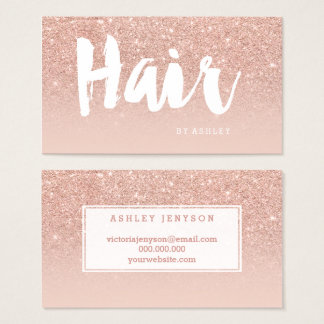 Hair stylist modern typography blush rose gold