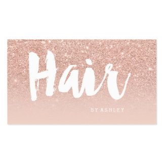 Hair stylist modern typography blush rose gold pack of standard business cards