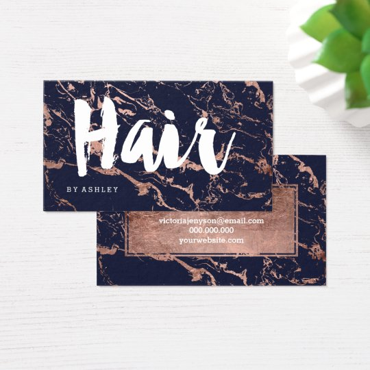 Hair stylist navy blue rose gold typography marble