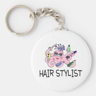 Hair Stylist Octopus Basic Round Button Key Ring