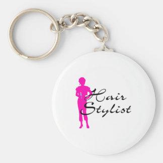 Hair Stylist (Pink) Basic Round Button Key Ring