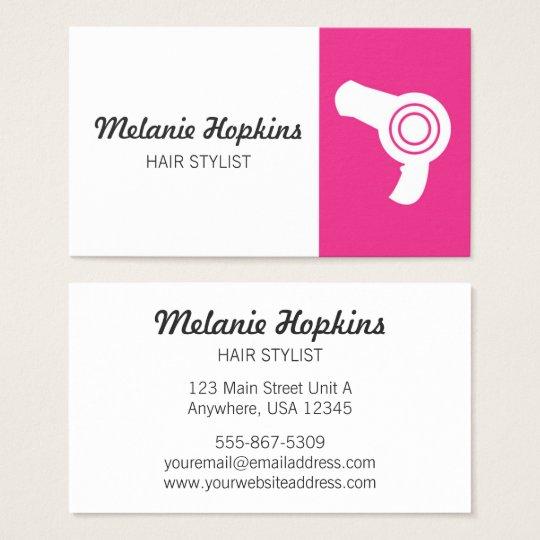 Hair Stylist Pink Dryer Modern Salon Business Card