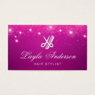 Hairdresser business cards business card printing zazzle uk hair stylist pink sparkling glitter beauty salon business card colourmoves