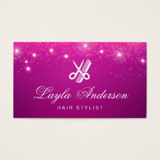 Hair Stylist - Pink Sparkling Glitter Beauty Salon Business Card