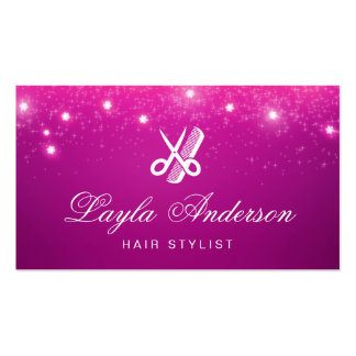 Hair Stylist - Pink Sparkling Glitter Beauty Salon Pack Of Standard Business Cards