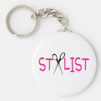 Hair Stylist Pink with Scissors Basic Round Button Key Ring