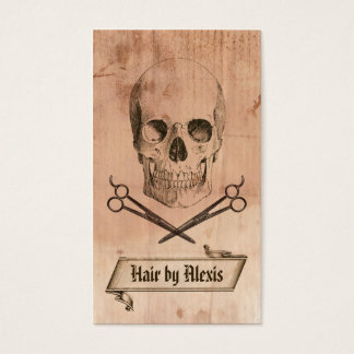 hair stylist punk grunge skull hairstylist brown business card