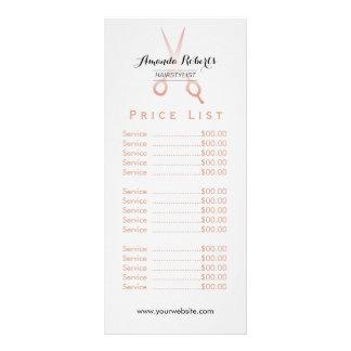 Hair Stylist Rose Gold Scissor Minimal Price List Rack Card