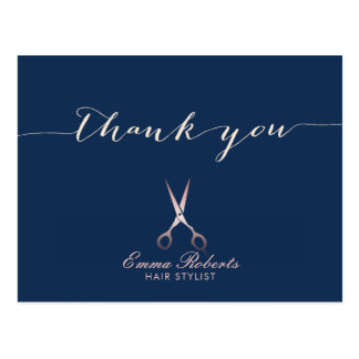 Hair Stylist Rose Gold Scissor Navy Blue Thank You Postcard