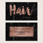 Hair stylist rose gold typography black marble business card