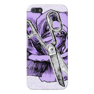 Hair stylist rose shears scissors case purple iPhone 5/5S cases