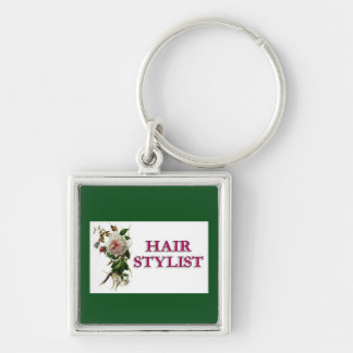 Hair Stylist Rose Silver-Colored Square Key Ring