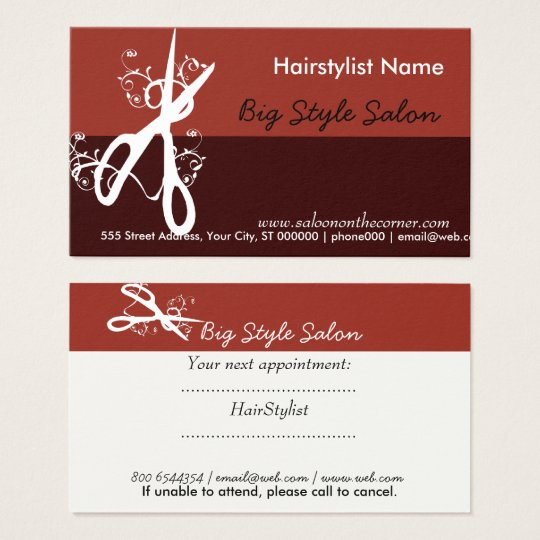 Hair Stylist Salon Beauty Spa Modern Business Card