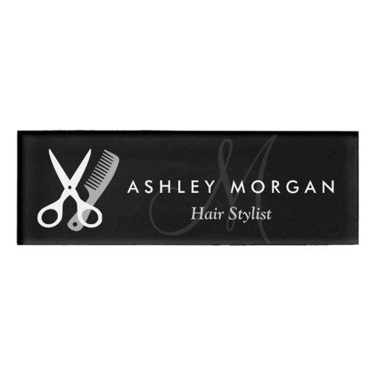 Hair Stylist Salon Black White Scissors Monogram Name