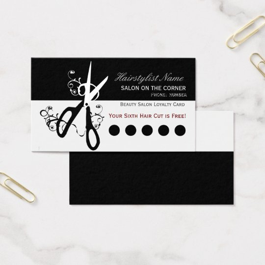 Hair Stylist Salon Modern Punch Loyalty Business Card
