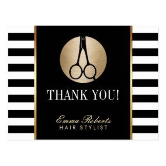 Hair Stylist Scissor Logo Modern Stripes Thank You Postcard