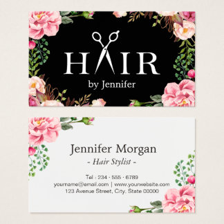 Hair Stylist Scissors Elegant Floral Wrapping Business Card