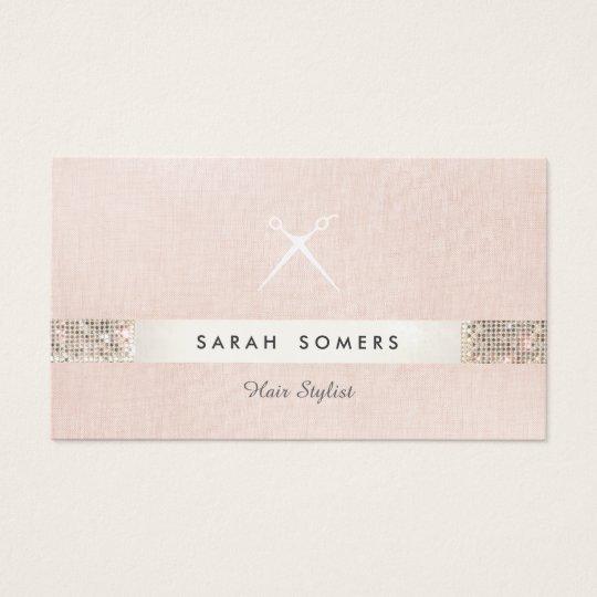 Hair Stylist Scissors Logo FAUX Sequin Pink Salon