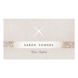 Hair Stylist Scissors Logo FAUX Silver Sequin Pack Of Standard Business Cards