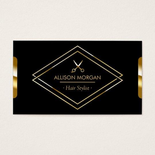 Hair Stylist Scissors Luxury Black Gold Look Business