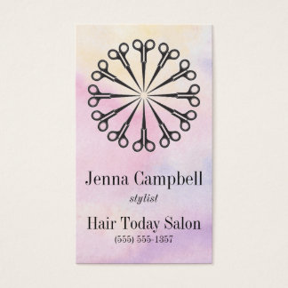 Hair Stylist Scissors Pastel Appointment/ Business Card