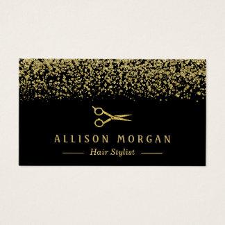 Hair Stylist Scissors Salon Gold Glitter Confetti Business Card