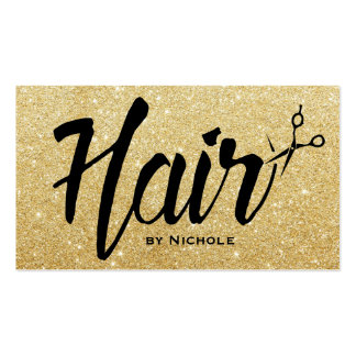 Hair Stylist Script Chic Gold Glitter Appointment Pack Of Standard Business Cards