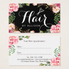 Hair Stylist Script Floral Wrapping Appointment Business Card