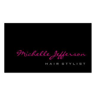 Hair Stylist Script Grey Pink Trendy Business Card