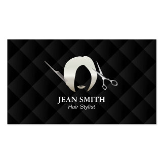 Hair Stylist Short Hair Girl Luxury Black Quilted Pack Of Standard Business Cards