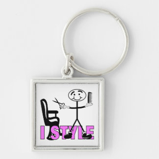 Hair Stylist Silver-Colored Square Key Ring